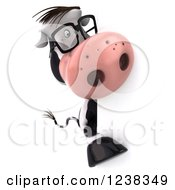 Clipart Of A 3d Bespectacled Cow Looking Around A Sign 2 Royalty Free Illustration