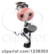 Clipart Of A 3d Bespectacled Cow Looking Around A Sign Royalty Free Illustration