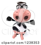 Clipart Of A 3d Cheerful Bespectacled Cow Royalty Free Illustration