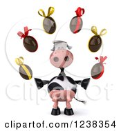 Clipart Of A 3d Cow Juggling Chocolate Easter Eggs Royalty Free Illustration