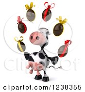 Clipart Of A 3d Cow Juggling Chocolate Easter Eggs 2 Royalty Free Illustration