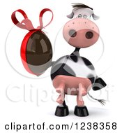 Clipart Of A 3d Cow Holding A Chocolate Easter Egg Royalty Free Illustration