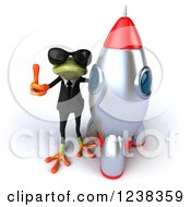 Clipart Of A 3d Business Green Springer Frog In Sunglasses Giving A Thumb Up By A Rocket Royalty Free Illustration