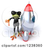 Clipart Of A 3d Business Green Springer Frog In Sunglasses Giving A Thumb Down By A Rocket Royalty Free Illustration