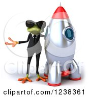 Clipart Of A 3d Business Green Springer Frog In Sunglasses Standing By A Rocket Royalty Free Illustration