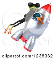 Clipart Of A 3d Business Green Springer Frog In Sunglasses Flying On A Rocket Royalty Free Illustration