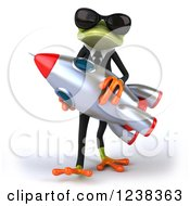 Clipart Of A 3d Business Green Springer Frog In Sunglasses Carrying A Rocket Royalty Free Illustration