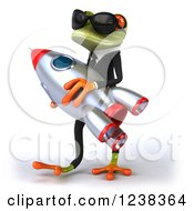 Clipart Of A 3d Business Green Springer Frog In Sunglasses Carrying A Rocket 2 Royalty Free Illustration