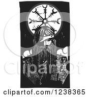 Clipart Of A Woodcut Norse God Odin Over A Wheel Royalty Free Vector Illustration by xunantunich