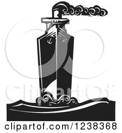 Woodcut Steam Ship In Black And White