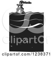 Woodcut Steam Ship Over Fish In The Ocean In Black And White