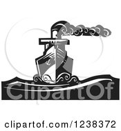 Clipart Of A Woodcut Steam Ship On The Sea In Black And White Royalty Free Vector Illustration