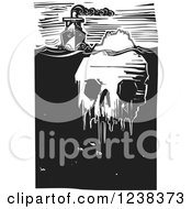 Poster, Art Print Of Woodcut Steam Ship With A Frozen Skull Iceberg In Black And White