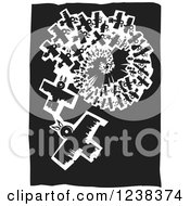 Clipart Of Black And White Woodcut Spiraling Birds Royalty Free Vector Illustration
