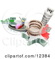 Tourist Attractions Of The Leaning Tower Of Pisa Roman Coliseum Flavian Amphitheatre And Venice Italy Gondola And Italian Flag Clipart Illustration