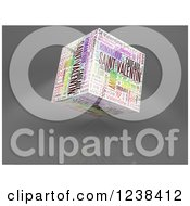 Clipart Of A 3d Colorful Valentines Day Word Collage Cube On Gray Royalty Free Illustration by MacX