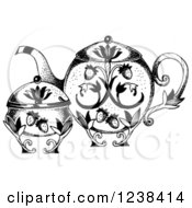 Black And White Ornate Strawberry Teapot And Sugar Bowl