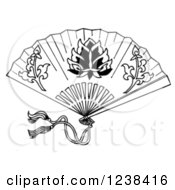 Clipart Of A Black And White Decorative Asian Fan Royalty Free Illustration