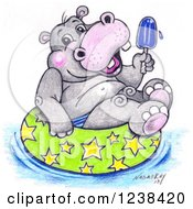 Cute Sketched Hippo Holding A Popsicle And Floating In An Inner Tube