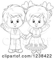 Clipart Of A Black And White Wedding Or Easter Kid Couple Waving Royalty Free Vector Illustration by Alex Bannykh
