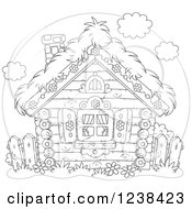 Clipart Of A Black And White Log Cabin With A Straw Roof Royalty Free Vector Illustration by Alex Bannykh