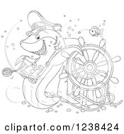 Clipart Of A Black And White Shark Captain And Fish Over A Sunken Helm Royalty Free Vector Illustration