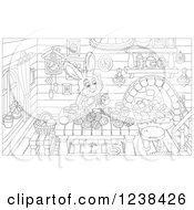 Clipart Of A Black And White Rabbit Painting Easter Eggs At A Table Royalty Free Vector Illustration