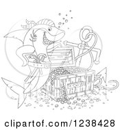 Clipart Of A Black And White Pirate Shark By Sunken Treasure Royalty Free Vector Illustration