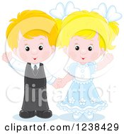 Clipart Of A Caucasian Wedding Or Easter Kid Couple Waving Royalty Free Vector Illustration