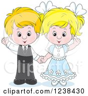 Clipart Of A Wedding Or Easter Kid Couple Waving Royalty Free Vector Illustration
