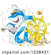 Clipart Of A Blue Shark Captain And Fish Over A Sunken Helm Royalty Free Vector Illustration by Alex Bannykh