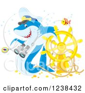 Clipart Of A Shark Captain And Fish Over A Sunken Helm Royalty Free Vector Illustration