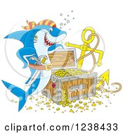 Clipart Of A Blue Pirate Shark By Sunken Treasure Royalty Free Vector Illustration by Alex Bannykh