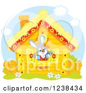 Clipart Of A Bunny Rabbit In A Log Cabin Window Royalty Free Vector Illustration
