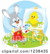 Clipart Of A Rabbit Painting A Chick On A Canvas Royalty Free Vector Illustration by Alex Bannykh