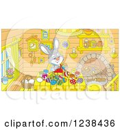 Clipart Of A Gray Bunny Rabbit Painting Easter Eggs At A Table Royalty Free Vector Illustration