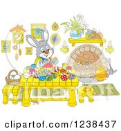 Clipart Of A Rabbit Painting Easter Eggs At A Wood Table Royalty Free Vector Illustration