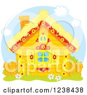 Clipart Of A Cute Log Cabin With A Straw Roof Royalty Free Vector Illustration by Alex Bannykh