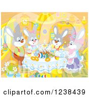 Clipart Of A Rabbit Family Having Easter Cake In A Cabin Royalty Free Vector Illustration