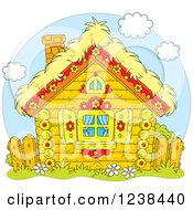 Clipart Of A Cute Log Cabin With A Hay Roof Royalty Free Vector Illustration