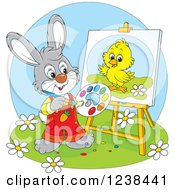Clipart Of A Gray Rabbit Painting A Chick On A Canvas Royalty Free Vector Illustration