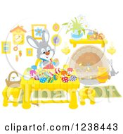 Clipart Of A Rabbit Painting Easter Eggs At A Table Royalty Free Vector Illustration