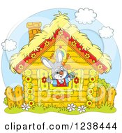 Clipart Of A Gray Bunny Rabbit In A Log Cabin Window Royalty Free Vector Illustration