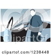 Clipart Of A Faceless Car Salesman Presenting The Interior Of A Vehicle Royalty Free Vector Illustration