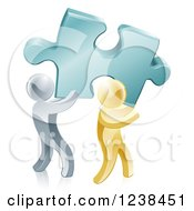 Clipart Of 3d Gold And Silver Men Carrying A Large Solution Puzzle Piece Royalty Free Vector Illustration by AtStockIllustration