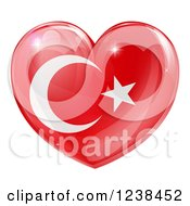 Clipart Of A 3d Reflective Turkish Flag Heart Royalty Free Vector Illustration