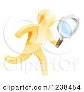 Clipart Of A 3d Gold Man Running With A Magnifying Glass Royalty Free Vector Illustration
