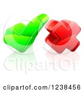 Clipart Of A 3d Green Check Mark And Red Cross Royalty Free Vector Illustration by AtStockIllustration