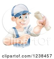 Clipart Of A Happy Worker Graduate Holding A Wrench And Degree Royalty Free Vector Illustration