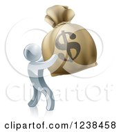 Clipart Of A 3d Silver Man Holding Up A Large Dollar Money Bag Royalty Free Vector Illustration by AtStockIllustration